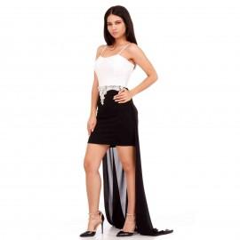 Μαύρο - Λευκό Mini Φόρεμα με Δαντέλα και C - Throu Λεπτομέρειες