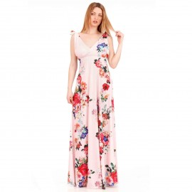 Ρόζ Φλοράλ Maxi Φόρεμα με Ανοιχτή Πλάτη