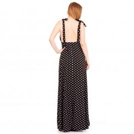 Μαύρο Πουά Maxi Φόρεμα με Ανοιχτή Πλάτη