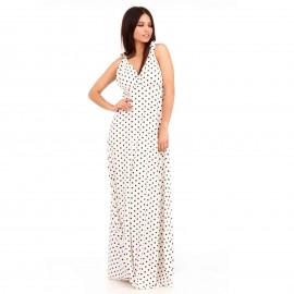 Λευκό Πουά Maxi Φόρεμα με Ανοιχτή Πλάτη