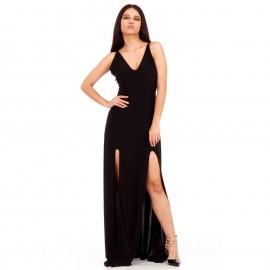 Μαύρο Maxi Φόρεμα με Ανοιχτή Πλάτη και Σκισίματα