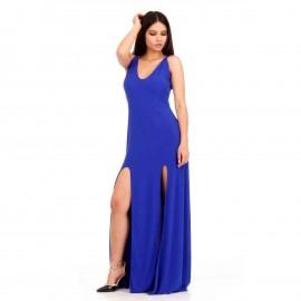 Μπλε Ρουά Maxi Φόρεμα με Ανοιχτή Πλάτη και Σκισίματα