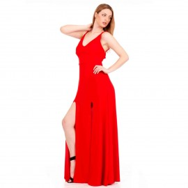 Κόκκινο Maxi Φόρεμα με Ανοιχτή Πλάτη και Σκισίματα