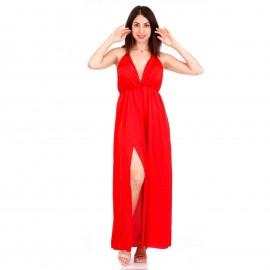 Κόκκινο Maxi Φόρεμα με Ανοιχτή Πλάτη