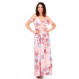 Ρόζ Φλοράλ Off - Shoulder Maxi Φόρεμα με Δαντέλα Κιπούρ