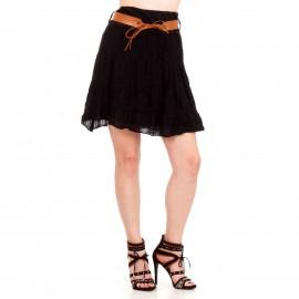 Μαύρη Midi Φούστα με Δαντέλα Κιπούρ και Ζωνάκι