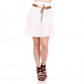 Λευκή Midi Φούστα με Δαντέλα Κιπούρ και Ζωνάκι