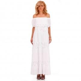 Λευκό Strapless Maxi Φόρεμα με Δαντέλα Κιπούρ