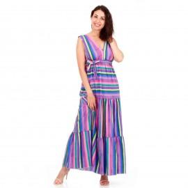 Μωβ Maxi Φόρεμα με Πολύχρωμες Ρίγες