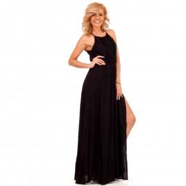 Μαύρο Maxi Φόρεμα με Ανοίγματα στη Μέση και Σκισίματα