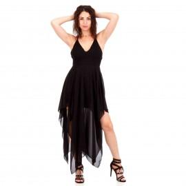 Μαύρο Ασύμμετρο Maxi Φόρεμα με Χιαστί Πλάτη