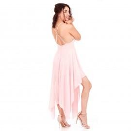 Ρόζ Ασύμμετρο Maxi Φόρεμα με Χιαστί Πλάτη