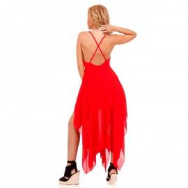 Κόκκινο Ασύμμετρο Maxi Φόρεμα με Χιαστί Πλάτη