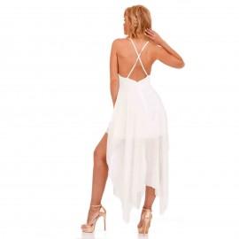 Λευκό Ασύμμετρο Maxi Φόρεμα με Χιαστί Πλάτη