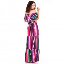 Πολύχρωμο Maxi Strapless Φόρεμα με Ρίγες και Βολάν