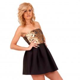 Μαύρο Mini Strapless Φόρεμα με Xρυσές Παγέτες