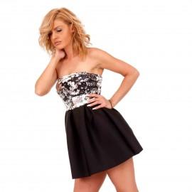 Μαύρο Mini Strapless Φόρεμα με Ασημί Παγέτες