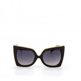 Γυαλιά Ηλίου Μαύρα με Χρυσές Λεπτομέρειες και Μαύρο Φακό