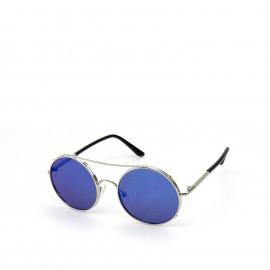 Γυαλιά Ηλίου με Μπλε Φακό και Ασημί Σκελετό