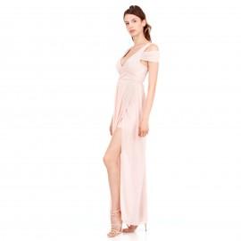 Ρόζ Maxi Φόρεμα με C - Throu Λεπτομέρειες και Ανοιχτή Πλάτη