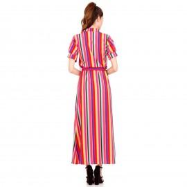 Πολύχρωμο Ριγέ Maxi Φόρεμα με Ζωνάκι