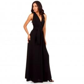 Μάύρο Πολυμορφικό Maxi Φόρεμα με Χιαστί Πλάτη