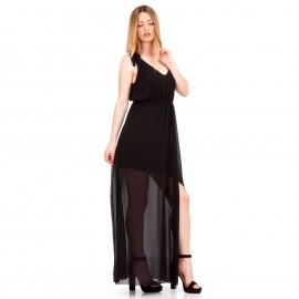 Μαύρο Maxi Φόρεμα με C - Throu Λεπτομέρειες