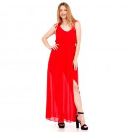 Κόκκινο Maxi Φόρεμα με C - Throu Λεπτομέρειες