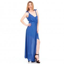 Μπλε Ρουά Maxi Φόρεμα με C - Throu Λεπτομέρειες