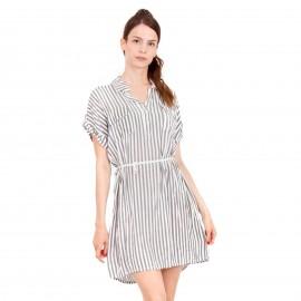 Ριγέ Mini Φόρεμα με Ζωνάκι Κορδόνι