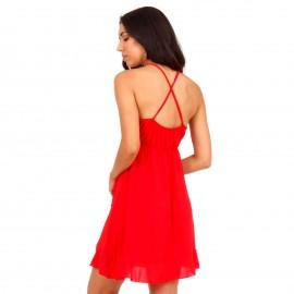 Κόκκινο Mini Φόρεμα με Χιαστί Πλάτη και Βολάν