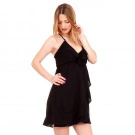 Μαύρο Mini Φόρεμα με Χιαστί Πλάτη και Βολάν