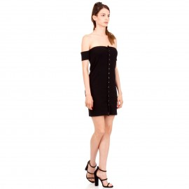 Μαύρο Mini Πλισέ Strapless Φόρεμα