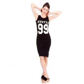 Μαύρο Midi Φόρεμα με Γράμματα ''HUSTLE 99''