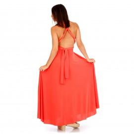 Κοραλί Maxi Πολυμορφικό Φόρεμα