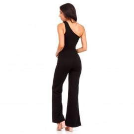 Μαύρη One - Shoulder Ολόσωμη Φόρμα με Άνοιγμα Μπροστά