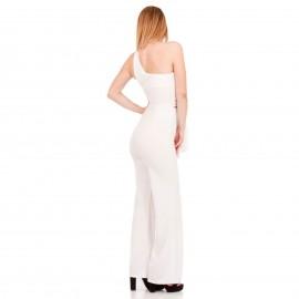 Λευκή One - Shoulder Ολόσωμη Φόρμα με Άνοιγμα Μπροστά