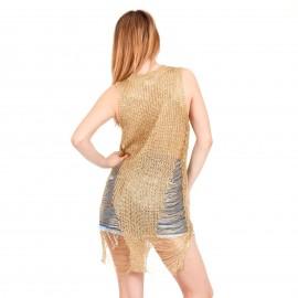 Χρυσό Mini Φόρεμα με Μεταλλική Πλέξη