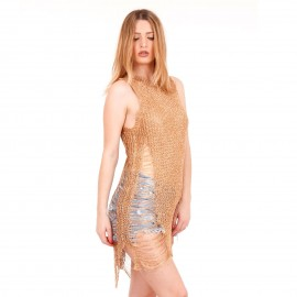 Bronze Mini Φόρεμα με Μεταλλική Πλέξη