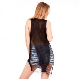 Μαύρο Mini Φόρεμα με Μεταλλική Πλέξη