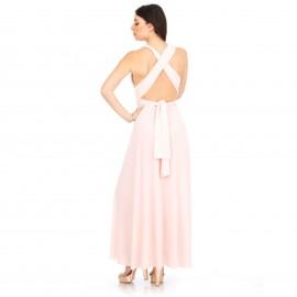 Ρόζ Maxi Πολυμορφικό Φόρεμα