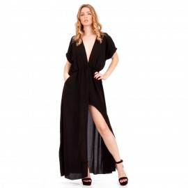 Μαύρο Maxi Φόρεμα με Άνοιγμα στο Στήθος και Σκίσιμο στο Πλάι