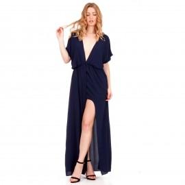 Μπλε Maxi Φόρεμα με Άνοιγμα στο Στήθος και Σκίσιμο στο Πλάι