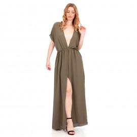 Χακί Maxi Φόρεμα με Άνοιγμα στο Στήθος και Σκίσιμο στο Πλάι