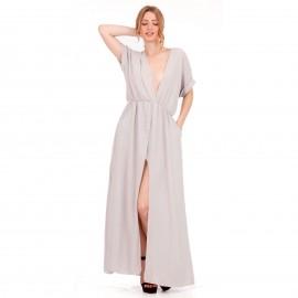 Γκρι Maxi Φόρεμα με Άνοιγμα στο Στήθος και Σκίσιμο στο Πλάι