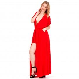 Κόκκινο Maxi Φόρεμα με Άνοιγμα στο Στήθος και Σκίσιμο στο Πλάι