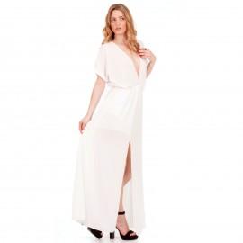 Λευκό Maxi Φόρεμα με Άνοιγμα στο Στήθος και Σκίσιμο στο Πλάι