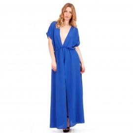 Μπλε Ρουά Maxi Φόρεμα με Άνοιγμα στο Στήθος και Σκίσιμο στο Πλάι