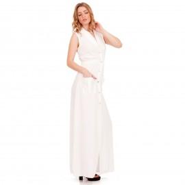 Λευκό Αμάνικο Maxi Φόρεμα με Κουμπιά και Τσέπες