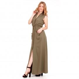 Χακί Αμάνικο Maxi Φόρεμα με Κουμπιά και Τσέπες